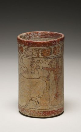 Cylinder Vase with Lord and a Deer