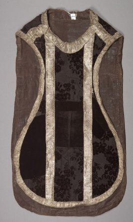 Mourning chasuble black with silver and gold bands