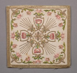 Chalice cover pink, green, and gold cross design on beige