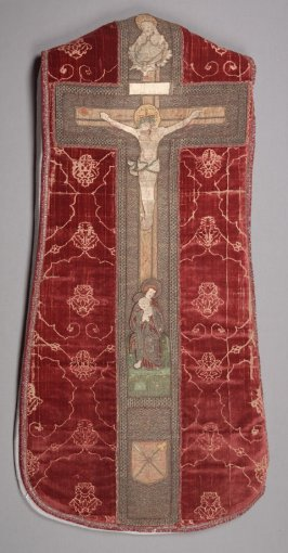 Chasuble with orphrey cross grey/green on red