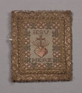 "Chalice cover inscribed ""Jesu Herz"" (Heart of Jesus)"