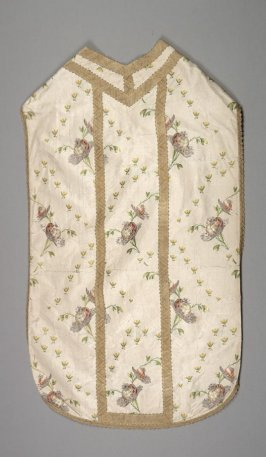 Chasuble: bulbs and flowers on beige with gold bands and trim