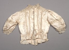 Blouse : beige satin with lace trim