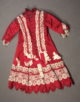 Child's dress: red and white with lace and ribbons