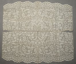 Two panels: net with applique in floral pattern, one scalloped edge