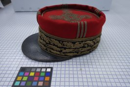 Military cap of Marshall Joffre during World War I,a, with custom storage box,b