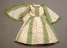 Doll's skirt and overskirt, white with green trim and flowers