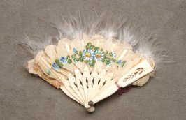 Miniature doll's ivory fan with feathers