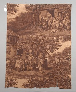 Cotton toile fragment , cottage scenes