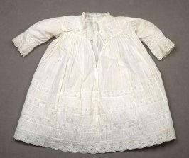 Baby dress: white with embroidered floral bands