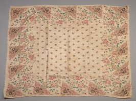 Shawl: flowers, leaves, vines on beige