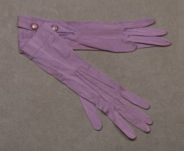 Pair of gloves: purple, with two snaps each; store label: Carola/Milanese Lisle