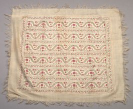 Scarf? pink and gray floral pattern on beige, with plain border and fringe