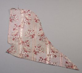 Brocade fragment: pale pink with red and silver flowers