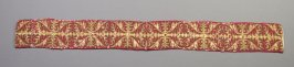"""Panel :gold designs on red; inscribed """"384"""""""