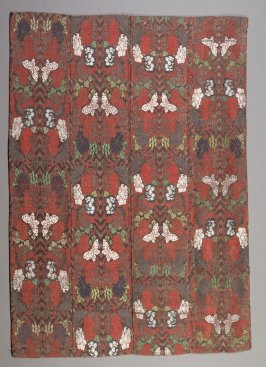 Textile fragment floral; red, white and green