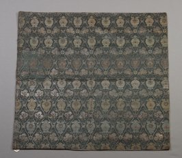 Textile panel: pale blue, green, brown floral on dark blue