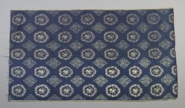 Brocade: blue with silver circles and squares