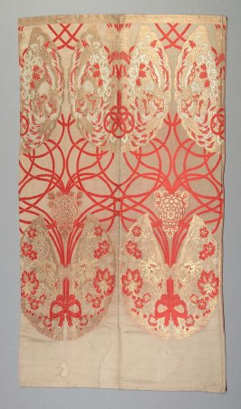 Textile fragment : red, gold and light blue on tan