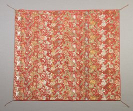 Textile fragment : floral patterns with gourds, multi-colored on orange