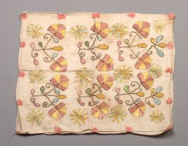 Pillowcase, embroidery, yellow, blue brown/rose