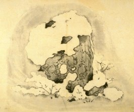 Skeletal stone, snow covered, No.15 from the Volume on Stones - from: The Treatise on Calligraphy and Painting of the Ten Bamboo Studio