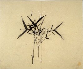 Ink study. Bamboo; three groups of leaves, branch arching to right - No.36 from the Volume on Orchids - from: The Treatise on Calligraphy and Painting of the Ten Bamboo Studio