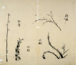 Ink study. Four sprouts and twigs - No.23 from the Volume on Bamboo - from: The Treatise on Calligraphy and Painting of the Ten Bamboo Studio