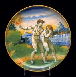 Plate depicting Adam and Eve