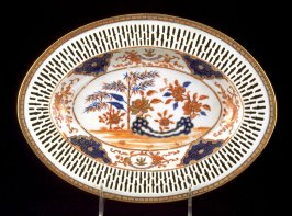 Oval dish with pierced border, with crest of Sir Joseph Williamson