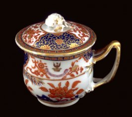 Covered pot de creme cup, with crest of Sir Joseph Williamson
