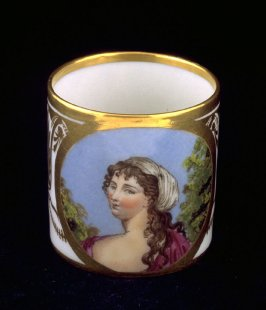 Cup with half figure of woman