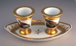 Double condiment dish with cover and three inserts