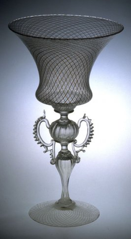 Glass goblet with white striping