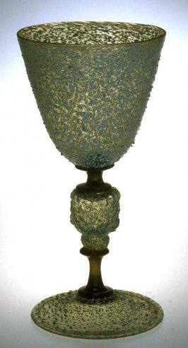 Ice glass goblet with blue flecks