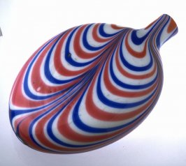 Nailsea rum flask, red, white and blue