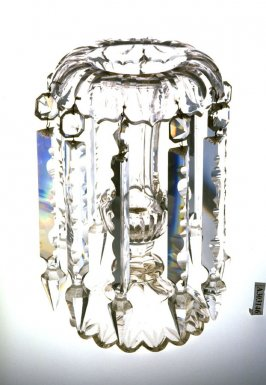 Candlestick with hanging prisms