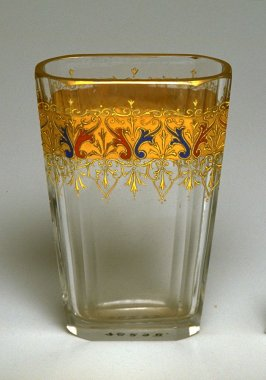 Oblong glass with gold decorations