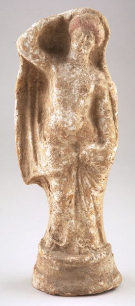 Standing nude female figure with arm raised