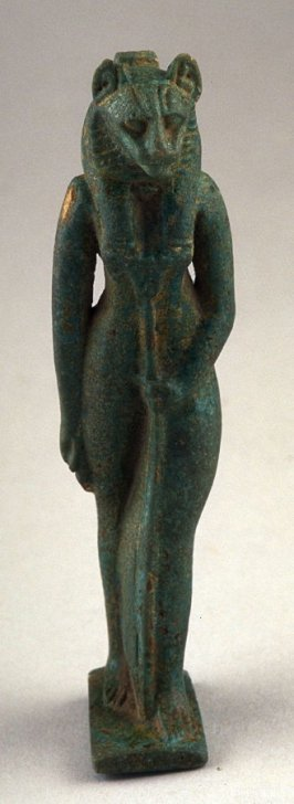 Standing human figure with cat's head