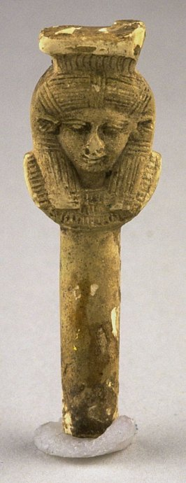 Handle of a sistrum or writing instrument with the head of Sekhet