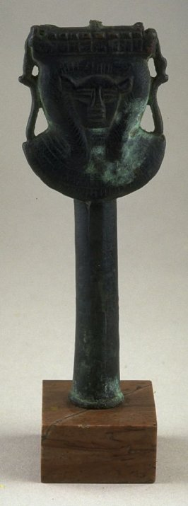Handle of a sistrum with the head of Hathor, sky goddess