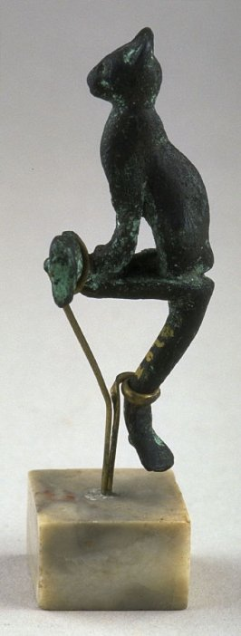 Handle fragment (cat supported on a metal pin) representing the goddess Bast