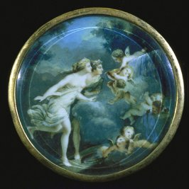 Miniature round pntg of nymphs & cupids, has 1943.__ on it & note read1943.334 (located)