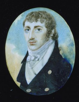 Miniature portrait of a young man w/dark suit, white shirt, frame is in pieces