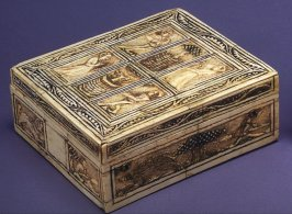 Covered chess box with dancers and hunting scenes
