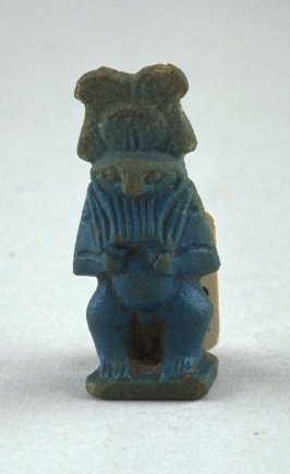 Statuette with falcon head, carrying Neterui, wearing a feathered crown