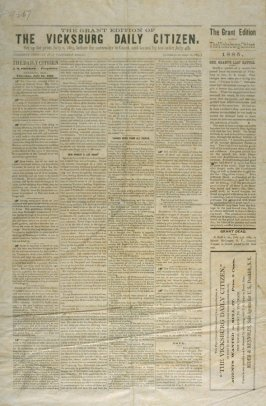 Wall paper and reproduction: The Vicksburg Daily Citizen 07/02/1863