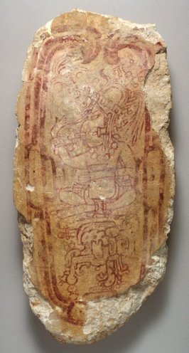 Painted capstone with Maize God