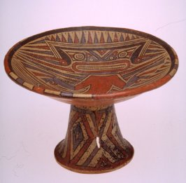 Pedestal plate with crocodile deity